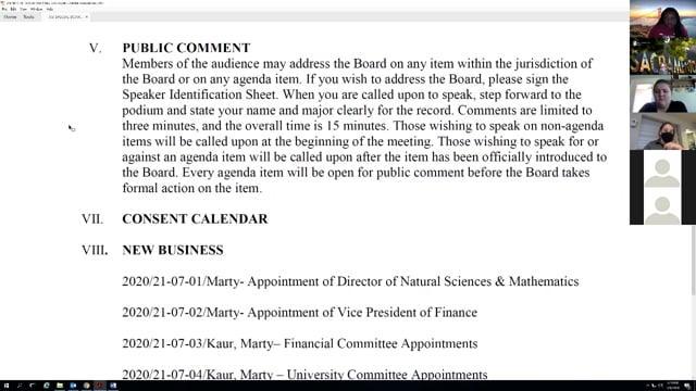 ASI Special Board Meeting 7-8-2020
