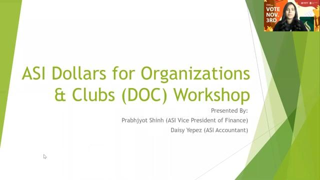 ASI DOC Workshops
