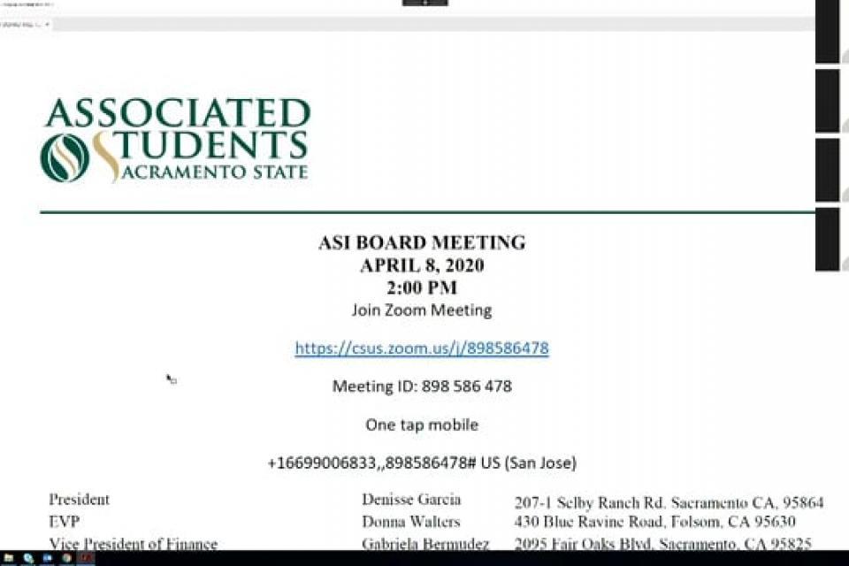 ASI Board Meeting 4-8-2020