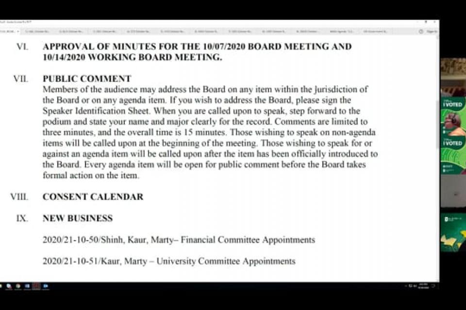 ASI Special Board Meeting 10-28-2020