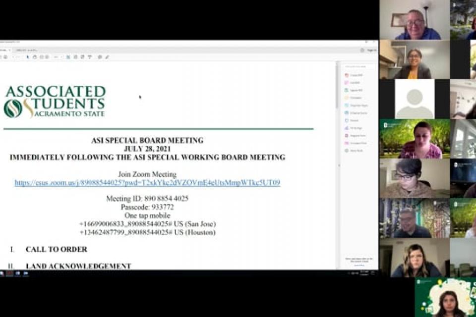 ASI Special Board Meeting 7-28-2021
